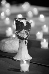 A communion chalice, broken in protest of the United Methodist Church's stance on homosexuality, is returned to the altar during the 2004 General Conference in Pittsburgh. Photo by Mike DuBose, UMNS